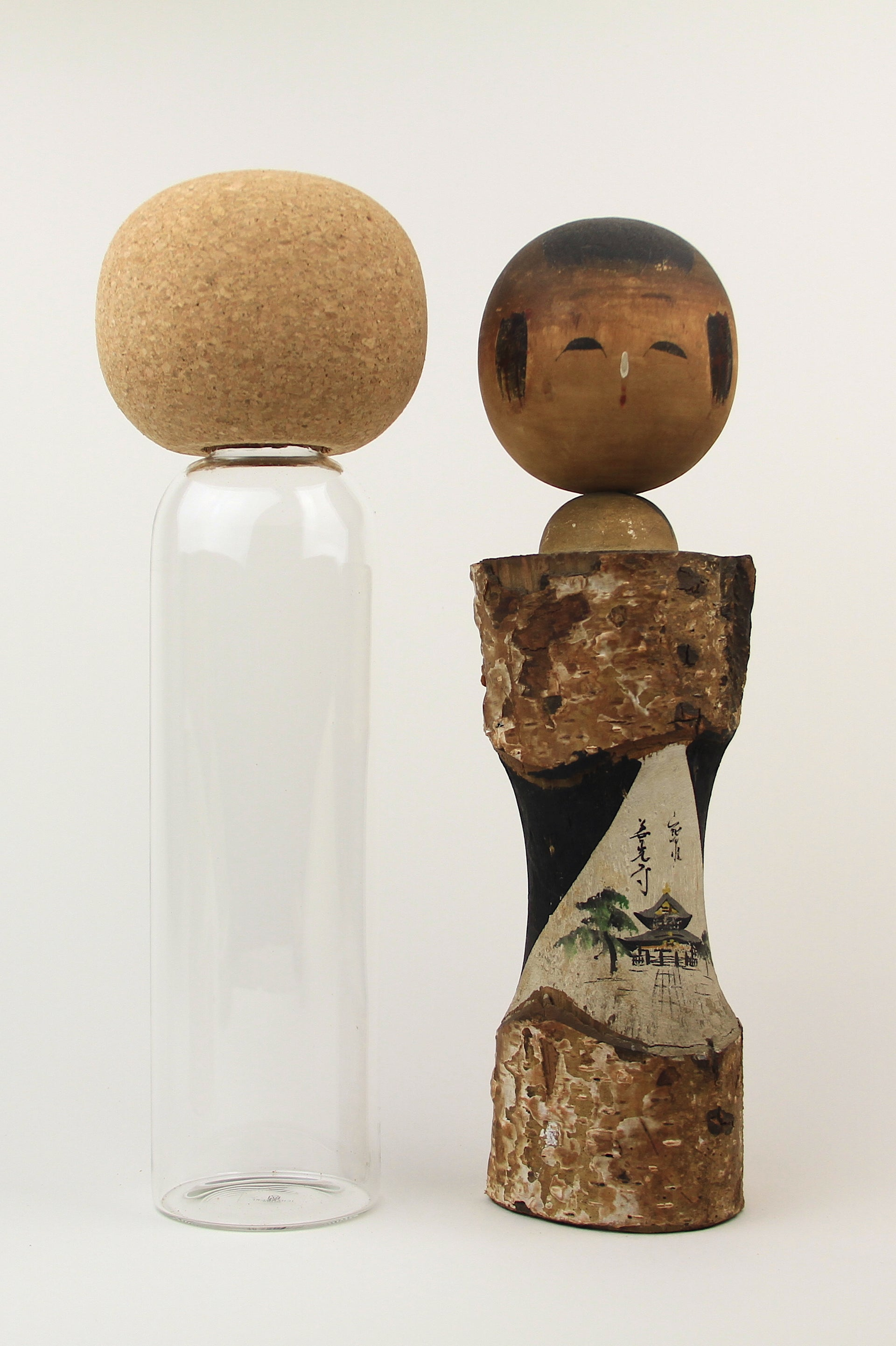 Kokeshi Glass Bottle Carafes w/ Cork Top