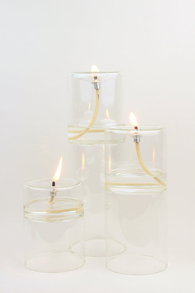 hand blown glass oil lamps with cotton wicks in 3 sizes