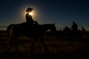 Cowboy Riding Horse, Cowboy Silhouette by Robs Wildlife