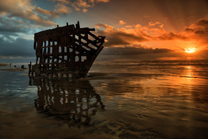 Sunset Shipwreck Silhouette, Sunset Art by Rob's Wildlife