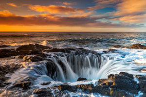 Sunset at Thor's Well, Oregon, Ocean Photography Art