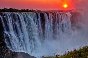 Color sky over Victoria Falls, Africa