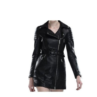 Ladies Washed 100% Soft Lamb Leather Trench BikerJacket