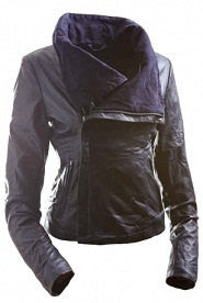 Ladies Washed 100% Soft Lamb Leather Fitted Asymmetric  Jacket