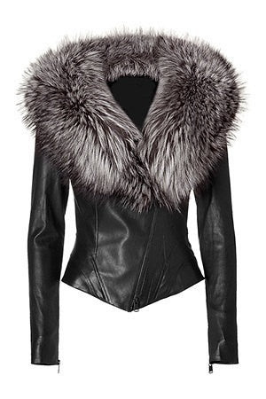 Ladies Washed Soft Lamb Nappa Leather with Fox Fur Collar Jacket.