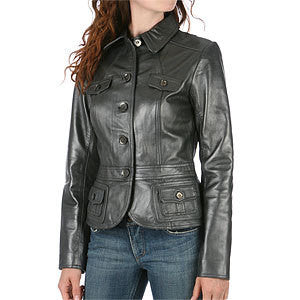Ladies Washed 100% Soft Lamb Leather Button Jacket