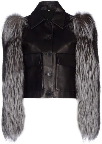 Ladies Soft Lamb Nappa Leather Fox Fur Sleeves Jacket