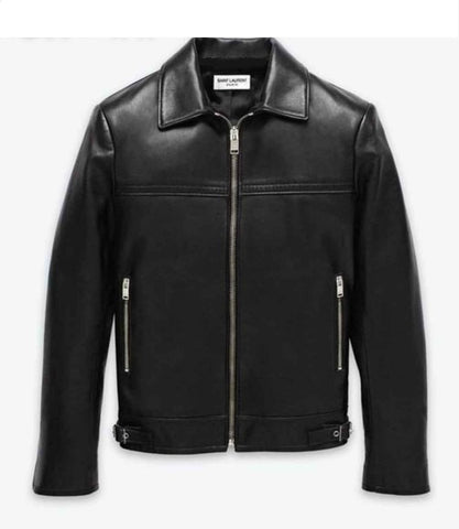 Men's Lamb Nappa Cafe Racer Leather Jacket