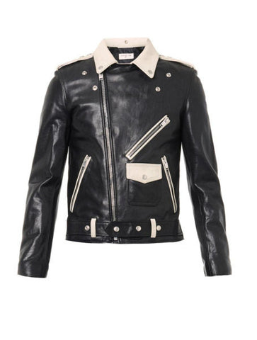 Men's Lamb Nappa Contrast Biker Leather Jacket