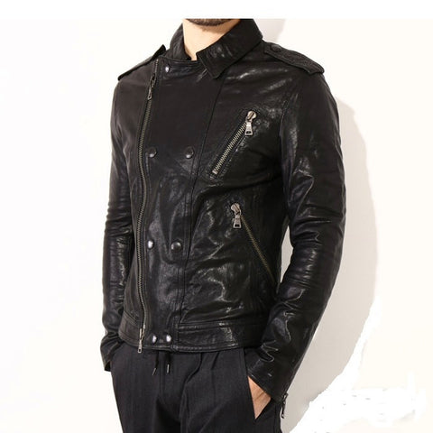Men's Lamb Nappa Biker Leather Black Jacket