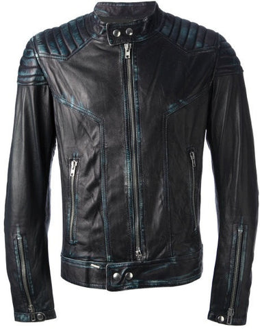 Men's Lamb Nappa Rub Off Leather Jacket