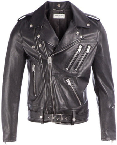 Men's Lamb Nappa  Classic Biker Leather Jacket