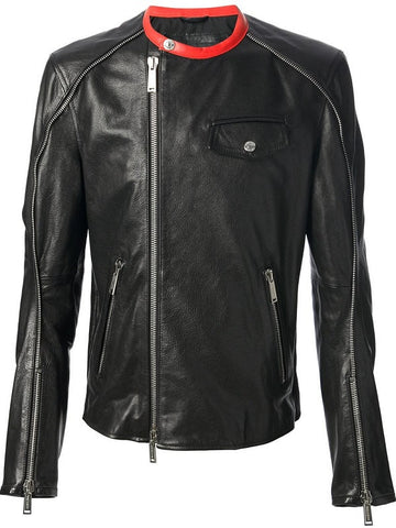 Men's Lamb Nappa Contrast Leather Jacket