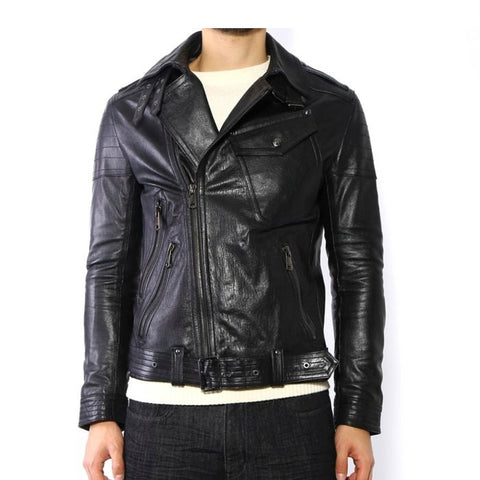 Men's Lamb Nappa Biker Leather Black Belted Jacket