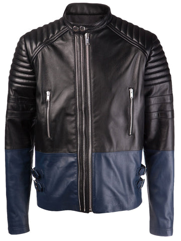 Men's Lamb Nappa Three Zip Leather Jacket