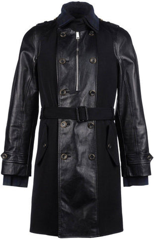 Men's Lamb Nappa Leather Plus Wool Longcoat