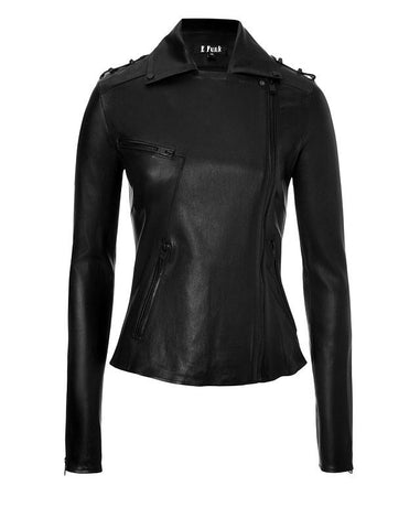 Ladies Soft Lamb Nappa Style Leather Black Jacket