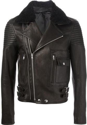 Men's Lamb Nappa Fur Collar Biker Leather Jacket