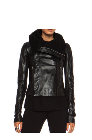 Ladies Soft Lamb Nappa Leather Asymmetric  Jacket