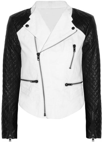 Ladies Soft Lamb Nappa Leather Biker White body Jacket
