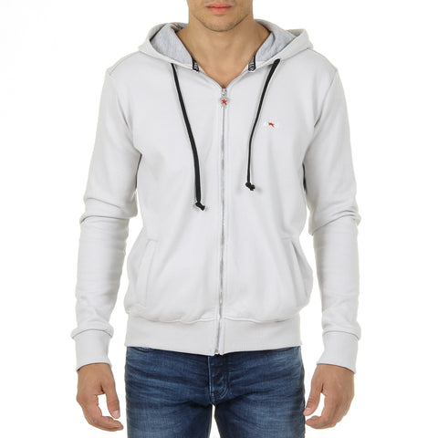 Andrew Charles Mens Hoodie with Zip Long Sleeves Round Neck Light Grey FELA