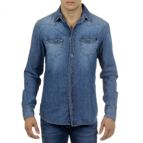 Andrew Charles Mens Shirt Long Sleeves Denim CAMILIA