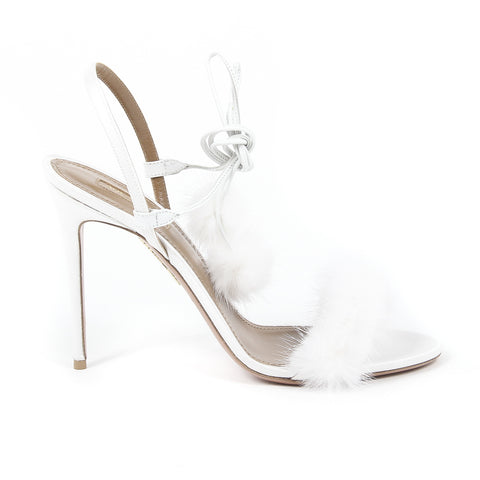 Aquazzura Firenze Womens Ankle Strap Sandal FANCY NANCY 105 WHITE
