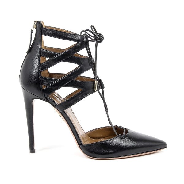 Aquazzura Firenze Womens Cut-Out Sandal BELGRAVIA 105 BLACK
