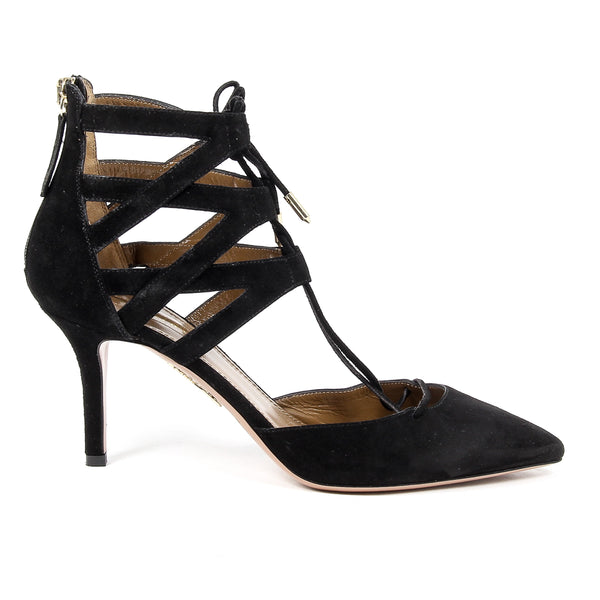 Aquazzura Firenze Womens Cut-Out Sandal BELGRAVIA 75 BLACK