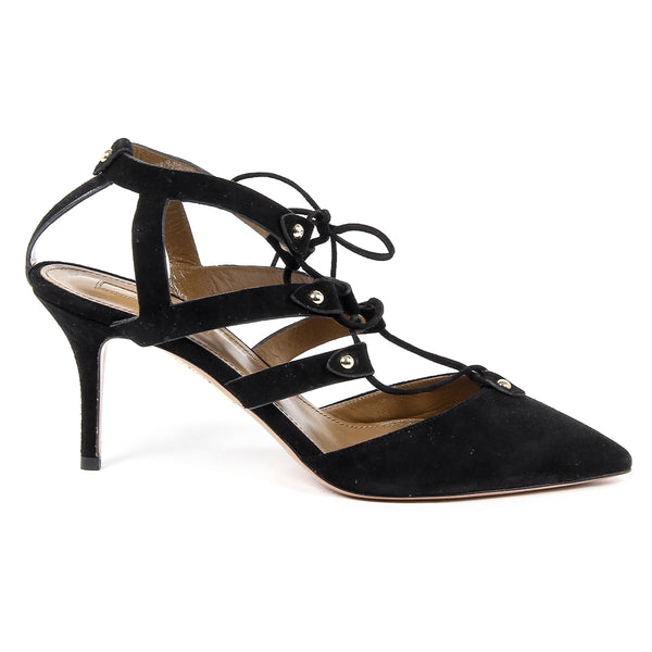 Aquazzura Firenze Womens Cut-Out Sandal BEL AIR PUMP 75 BLACK