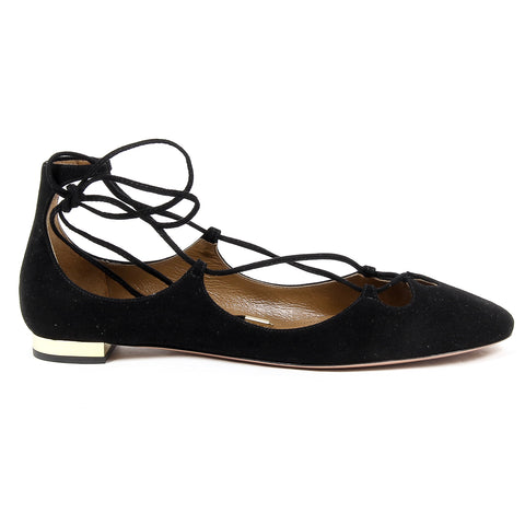 Aquazzura Firenze Womens Lace Up Ballerina DANCER FLAT BLACK