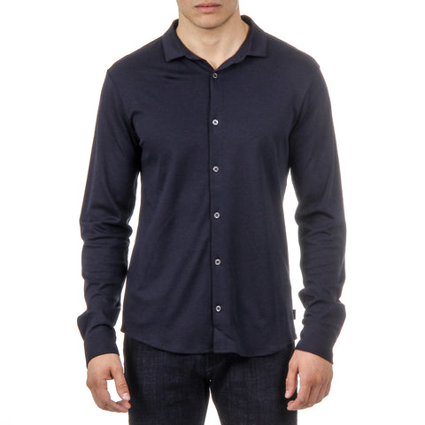 Armani Jeans Mens Shirt Long Sleeves Dark Blue 3Y6C92 6JPRZ 1579