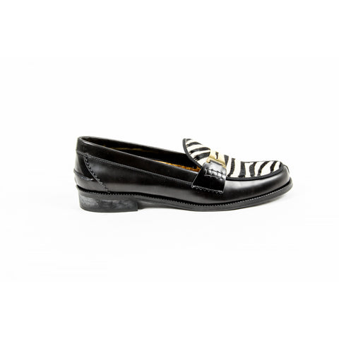 Avec Modération Womens Loafer FRIDA ANTHRACITE ZEBRA