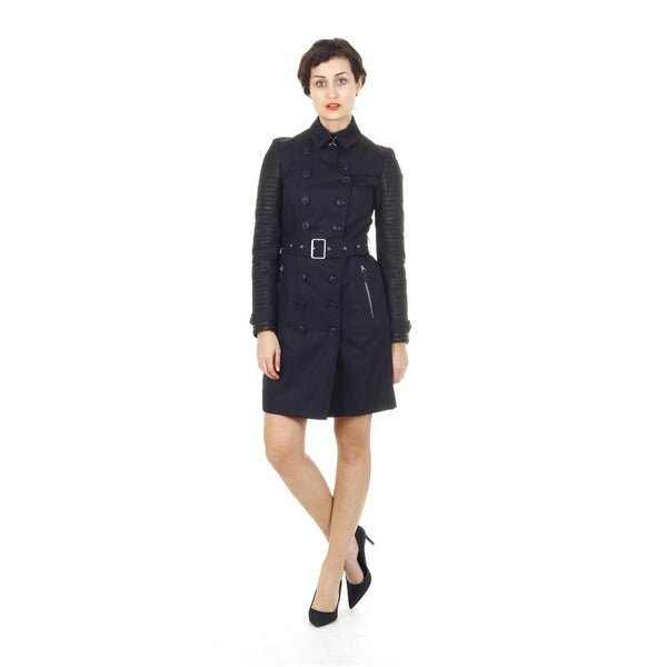 Burberry Brit ladies leather trim double breasted trench coat Tinsbury 3955142