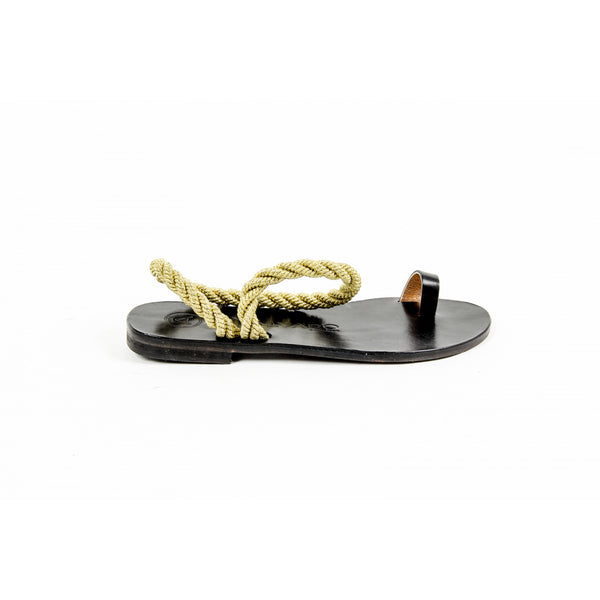 Álvaro González Womens Flat Sandal ANGELA METALLIC ROPE BLACK GOLD