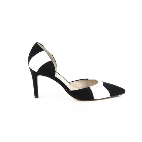 L.K. Bennett Womens Pump BONNIE SUEDE+NAPPA BLACK-WHITE