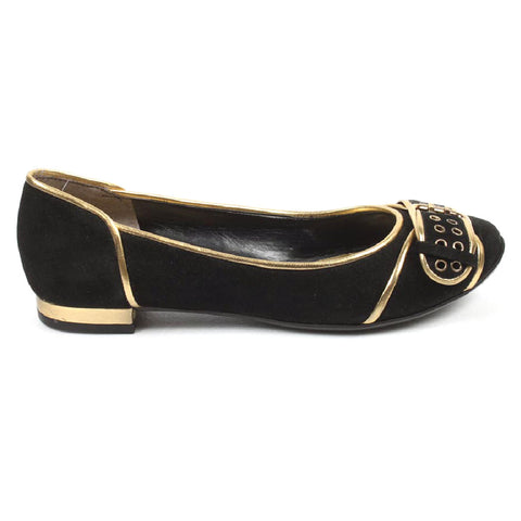 Nine West Womens Heeled Ballerina NWALYN BLACK GOLD