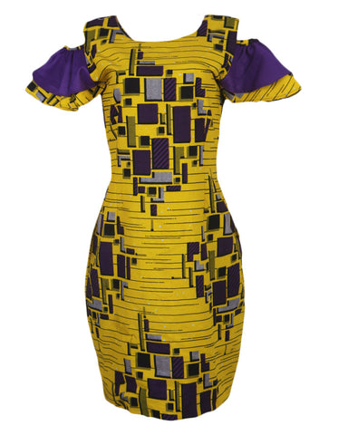 Comfort Stevens Stylish Ankara with Cold Shoulder Bell sleeves  for Ladies