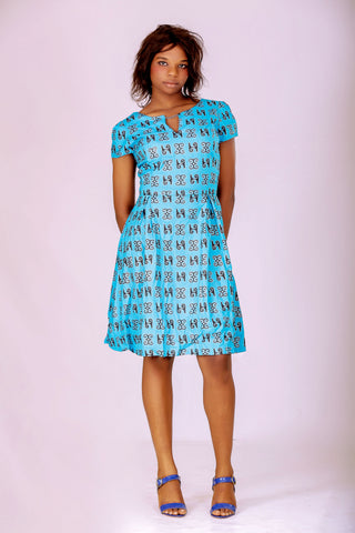 Comfort Stevens Ankara Light Blue Corporate Dress for Ladies