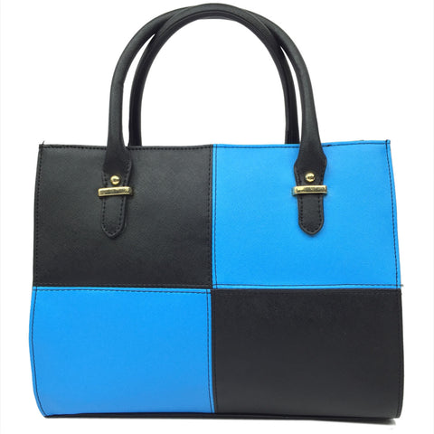 High Quality PU Leather Zipper Messenger Bags Mixed Colored Top- handle Woman Bags Casual Tote bag810S