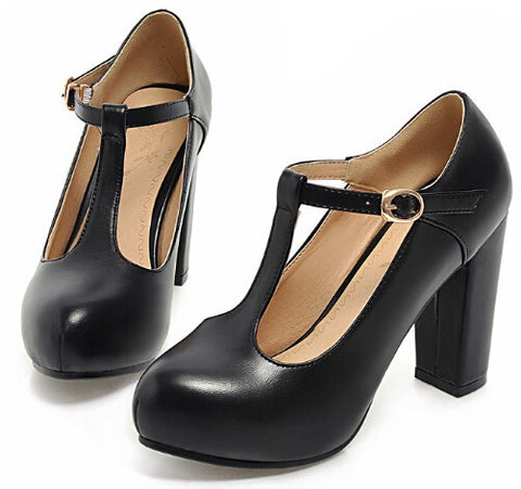 Black Buttons Perforated Victorian Mary Jane Thick Heel Pump Shoes For Women Sweet T-Strap Platform High Heel Sandal