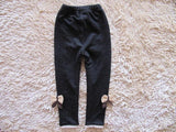 kids girls jean bow pants cotton cashmere pants elastic waist girls legging warm pants winter spring children pants