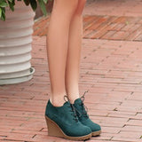 New Wedges Women Boots Fashion Flock High-heeled Platform Ankle Boots Lace Up High Heels Spring Autumn Shoes For Women