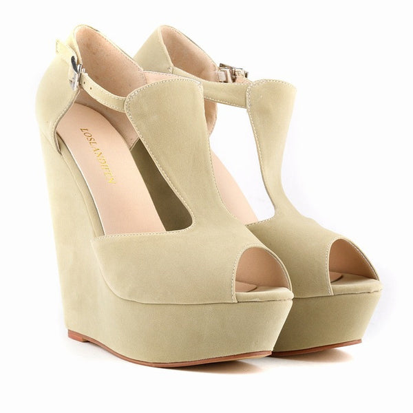 Spring summer new fashion sexy women pumps peep toe wedges platforms high heels sandals shoes woman buckle 35-42 loslandifen