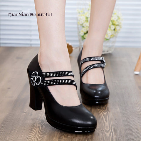 2016 Newest Shoes Women Genuine Leather Women Pumps Thick High Heels Party Wedding Shoes Platform Pump Shoes Plus Size 34-43