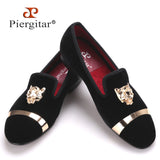 New fashion men party and wedding handmade loafers men velvet shoes with PP tiger and gold buckle men dress shoe men's flats