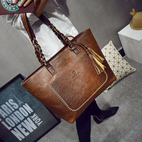 PU Leather Tassel Women Handbags Designer Retro Bolsas Mujer Shopping Tote Lady Bags sac a main Fashion Shoulder Bags L1077