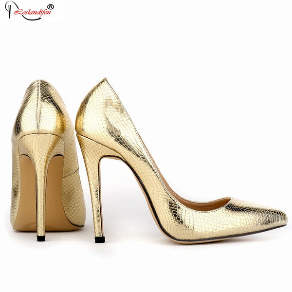Party Dress Womens Shoes Women Pumps Sexy Pointed Toe 11cm High Heels New Fashion Glitter Pump Gold Sliver Smynlk-10016c