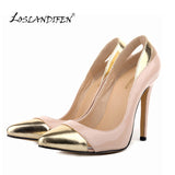 LOSLANDIFEN Classic Sexy Pointed Toe High Heels Women Pumps Shoes Spring Wedding Pumps Big Size 35-42 5 MIX GOLD Color 302-1MIX