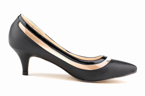Classic Sexy Pointed Patent Leather Low Med Kitten Heels Women Pumps Shoes Spring Brand Design Wedding Shoes Pumps 678-2MA